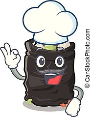Chef garbage bag in the cartoon shape vector illustration
