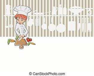 Chef girl cooking delicious meal