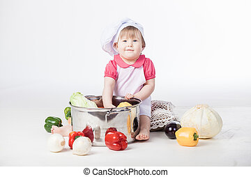 Chef girl preparing healthy food