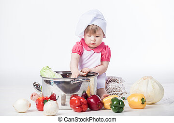 Chef girl preparing healthy food