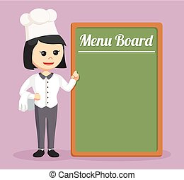 chef girl with big menu board