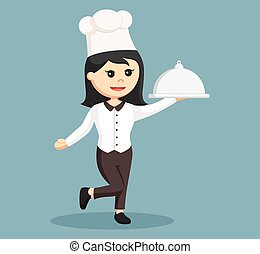 chef girl with platter
