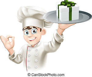 Chef giving gift - A chef with a gift on a platter. Could be...