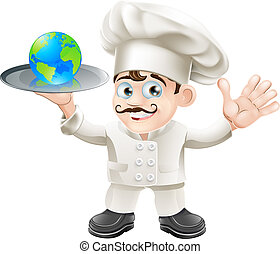 Illustration of a chef with a globe. Could be related to world food or success: having the world on plate