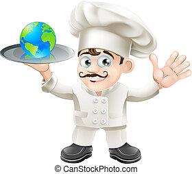 chef, globo, concetto