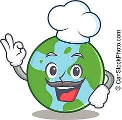 chef, globo mondo, carattere, cartone animato
