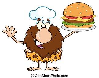 chef, grande, caveman, presa a terra, hamburger