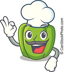 Chef green peppers on the table cartoon