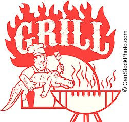 chef-grill-the-gator-CARTOON-CIRC-v2-BW-v2