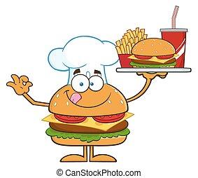 Chef Hamburger Cartoon Character