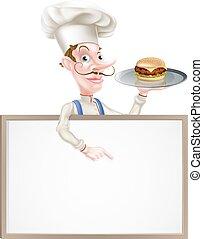 chef, hamburguesa, señalar, señal