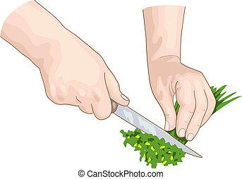 Chef hands.