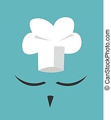 Chef hat and big mustache. Menu card. Flat design style