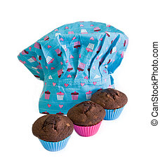 chef hat and cakes