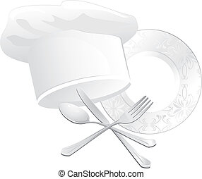 Chef hat and kitchenware - Chef hat, plate with spoon, fork ...