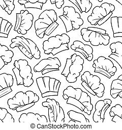 Chef hat, baker toque, cook cap seamless pattern