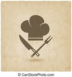 chef hat .cooking symbols old background