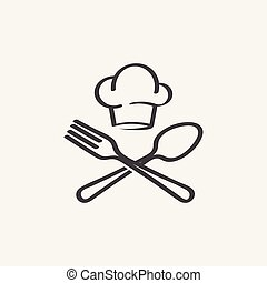 chef hat, fork and spoon vector