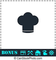 Chef hat icon flat