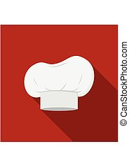 Chef hat icon isolated on red background with shadow. Clothing cook in flat style. Vector Illustration
