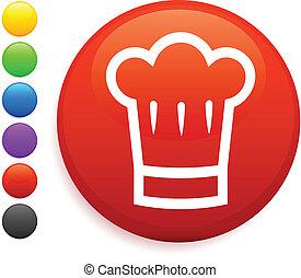 chef hat icon on round internet button