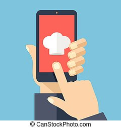 Chef hat icon on smartphone screen