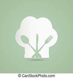 Chef Hat - Illustration of a chef hat and utensils on a ...