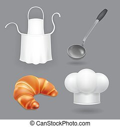 Chef hat, kitchen apron, ladle and bread vector. Kitchen icons set