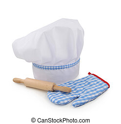 Chef hat, rolling pin and glove isolated on white background