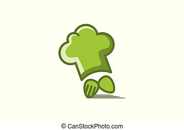 chef hat, spoon and fork fast delivery logo