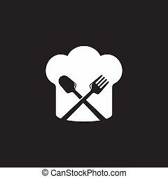chef hat spoon fork simple geometric symbol logo vector