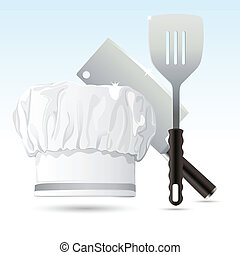 Chef Hat with Cooking Tools - illustration of chef hat with...