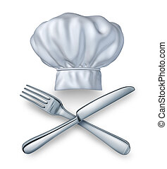 Chef hat with a knife and fork silverwear as a food and drink restaurant symbol of leisure culinary experience on a white background for cooking fine cuisine and gourmet meals.
