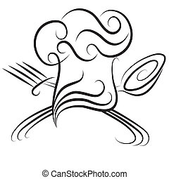 Ornate chef hat with spoon and fork icon for menu. Cooking background.