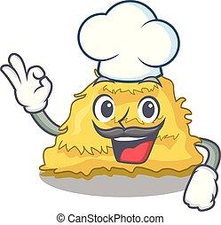 Chef hay bale character cartoon vector illustration