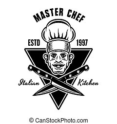 Chef head and crossed knives vector cooking emblem