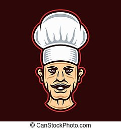 Chef head in hat cartoon style vector illustration