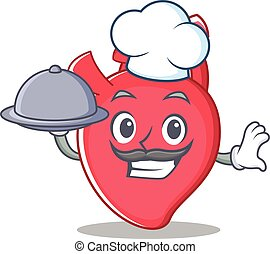 Chef heart character cartoon style