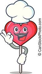 Chef heart lollipop character cartoon vector illustration