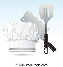 chef, herramientas, cocina, sombrero