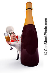 Chef hiding behind wine bottle - 3D illustration of Happy...
