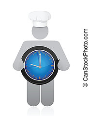 chef holding a clock. Cooking time concept