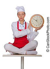 Chef holding a clock