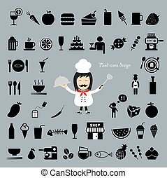 Chef holding a tray vector cartoon