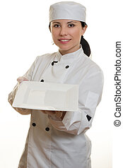 Chef holding a white plate