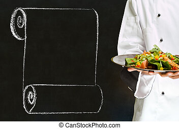 Chef holding health salad dish with chalk scroll on blackboard Background