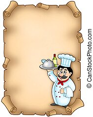 Chef holding meal on parchment - color illustration.