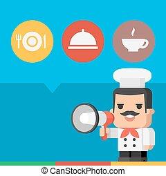 Chef holding megaphone concept