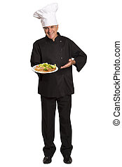 Chef holding plate with plate with omelet.