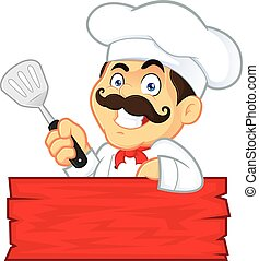 Chef Holding Spatula - Clipart Picture of a Chef Cartoon...